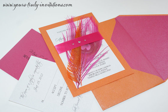Pink-and-orange-wedding-invitation