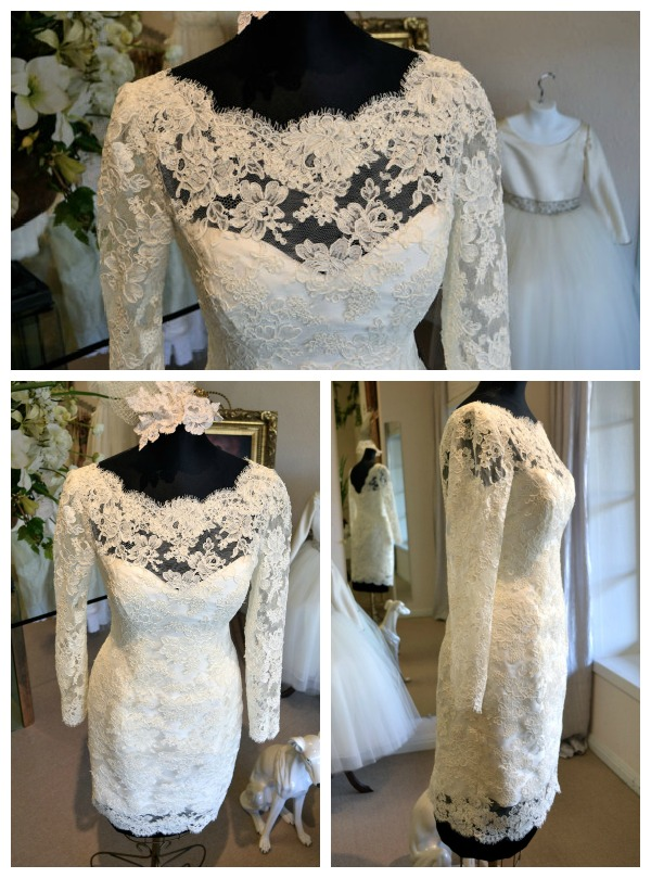 Short lace wedding dress etsy discount wedding dresses for Sell vintage wedding dress